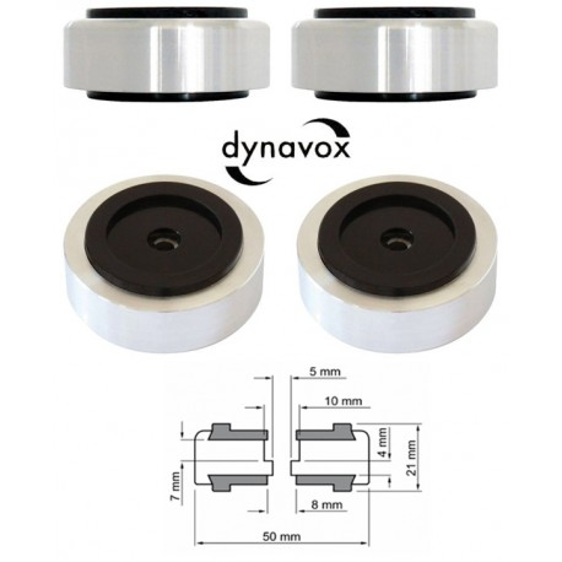 Kit 4 piedi Ø 50mm argento Dynavox per Hi-Fi, giradischi, altoparlanti, piastre