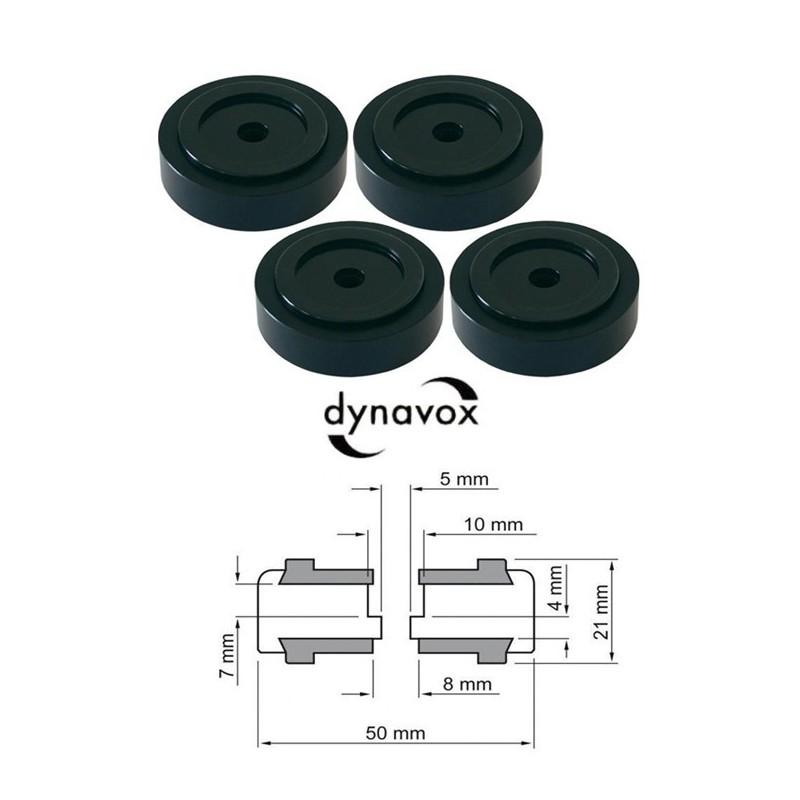 Kit 4 piedi Ø 50mm nero anodizzato Dynavox per Hi-Fi, giradischi, altoparlanti, piastre